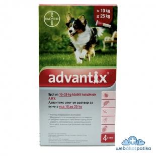 Advantix spot on kutyáknak 10-25 kg között állatgyógyszertár
